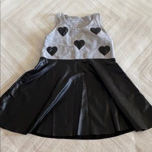 Flowers by Zoe Girls Grey & Black Heart Tank Dress